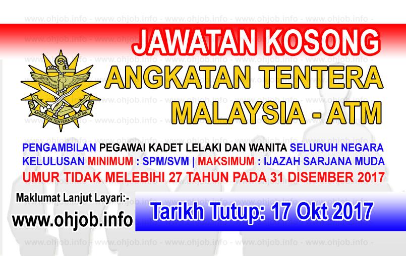 Jawatan Kerja Kosong ATM - Angkatan Tentera Malaysia logo www.ohjob.info oktober 2017