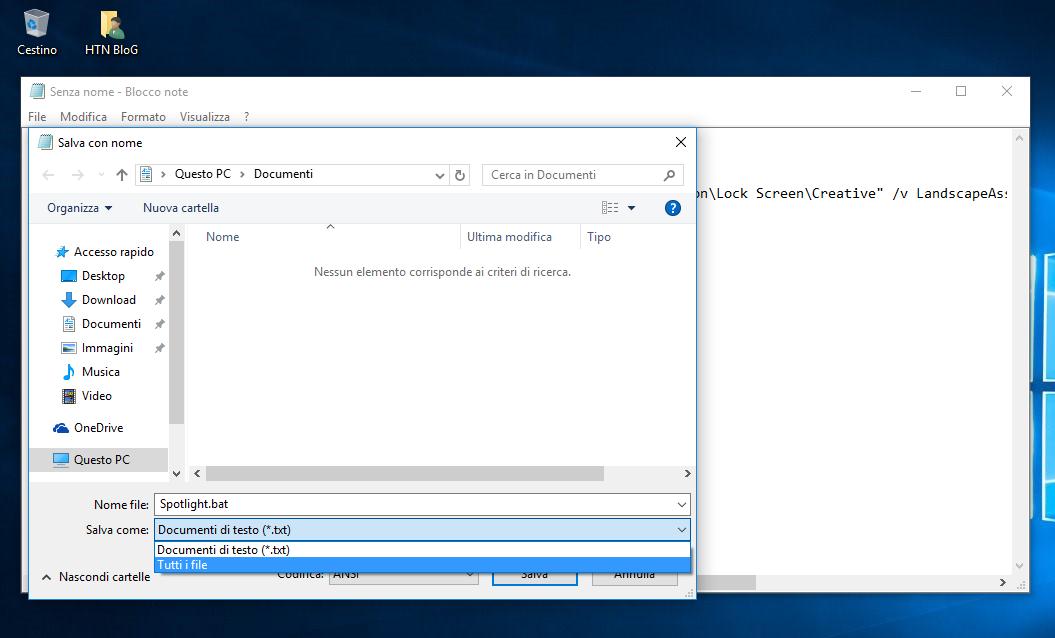 Come salvare con un click l'immagine Spotlight della Schermata di blocco in Windows 10 3 HTN
