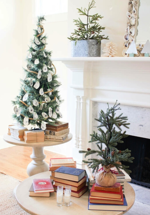 Small Coastal Christmas Trees with Shell Ornaments