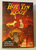 The cover of Hot Tin Roof: Three cartoon cats on the roofs of buildings in a city landscape. One appears to be dancing to a cartoon-style song.
