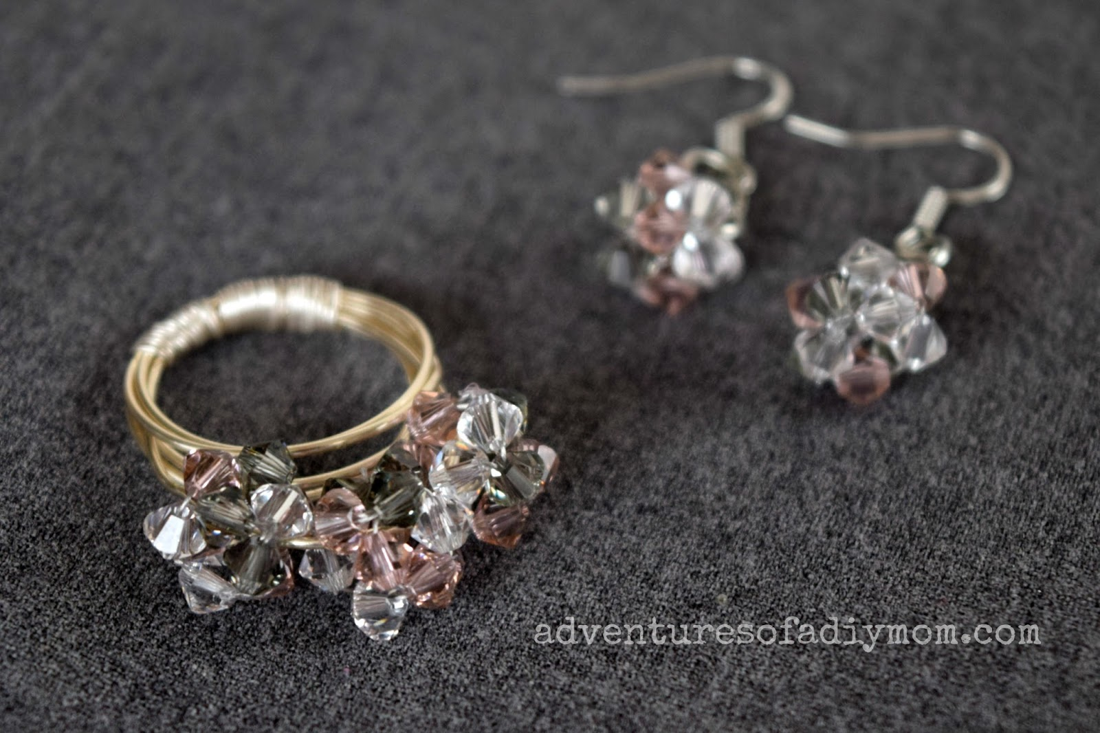 How to Make a Bead Cluster Ring and Earrings - Adventures of a DIY Mom