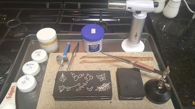 first attempt arrow fern leaf butterfly tulip soldering silver torch flux charcoal block crock pot jewelry handmade