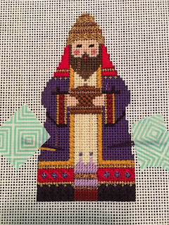 carol dupree needlepoint nativity purple wiseman