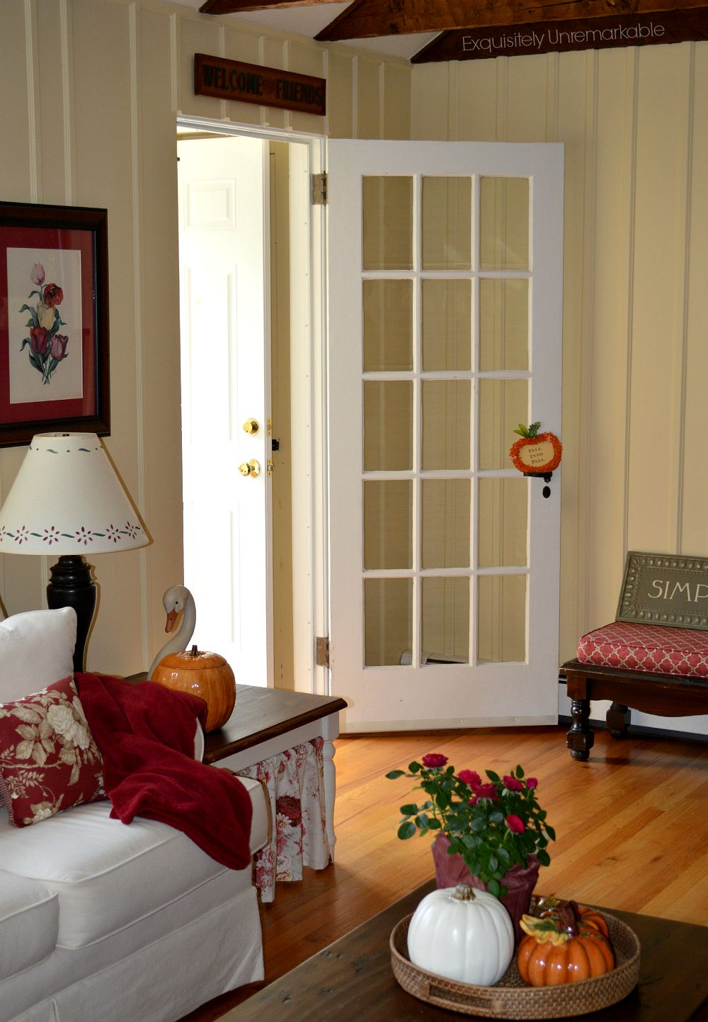 Cottage Style French Door in a living room