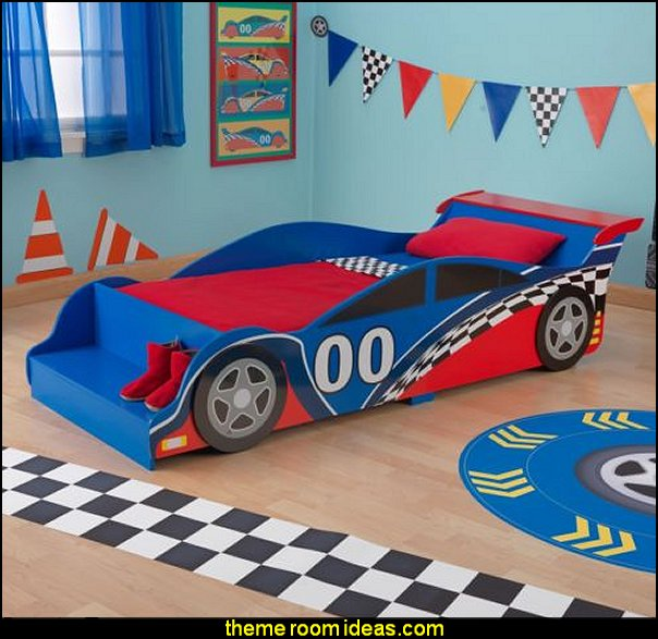Car theme bed  car beds - car racing theme bedrooms - theme beds - car beds - race car beds - cars - transportation theme - construction theme - boys bedroom ideas - garage themed bedrooms - boys racing cars themed bedrooms - Car Themed Bedrooms for Teenagers - car beds for kids - Checkered Flags Wall Decals
