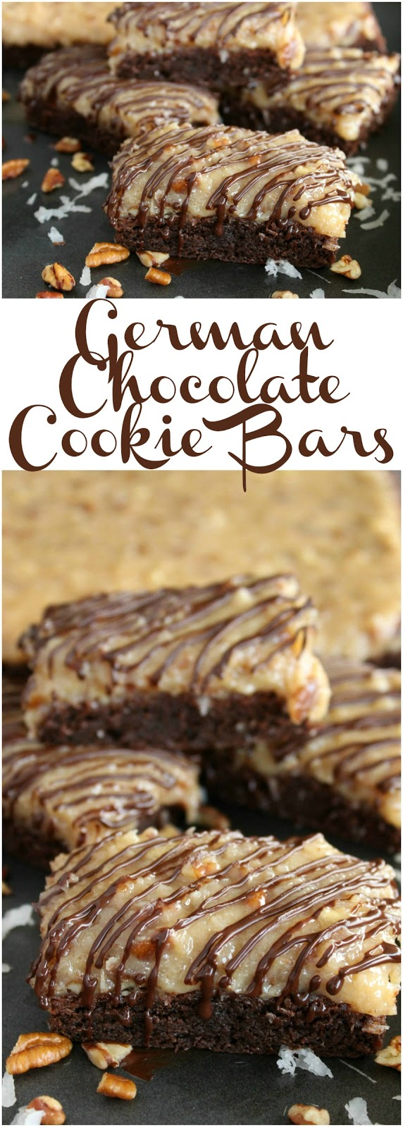 German Chocolate Cookie Bars by LoveandConfections.com