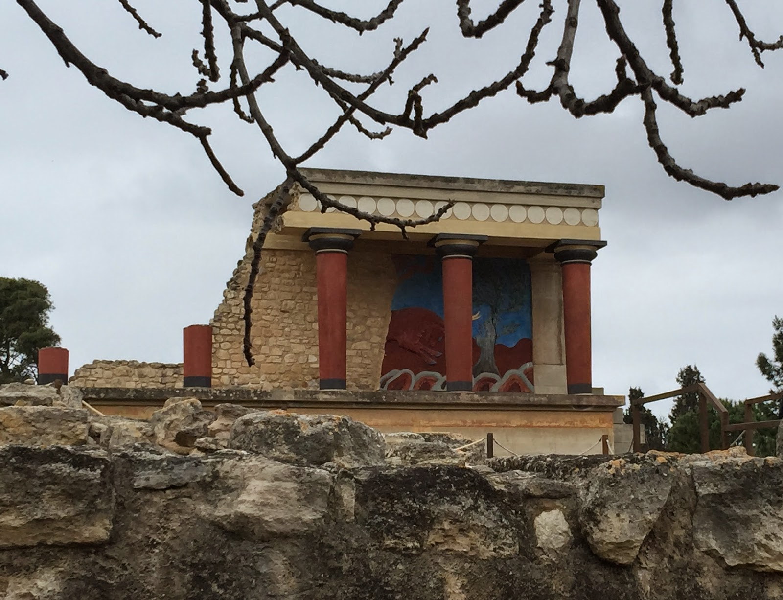 Bull mural at Knossos Palace ruins on Greek island of Crete