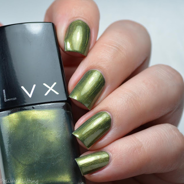 green metallic nail polish