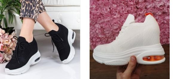 Sneakersi Servilius negri, albi cu platforma la moda