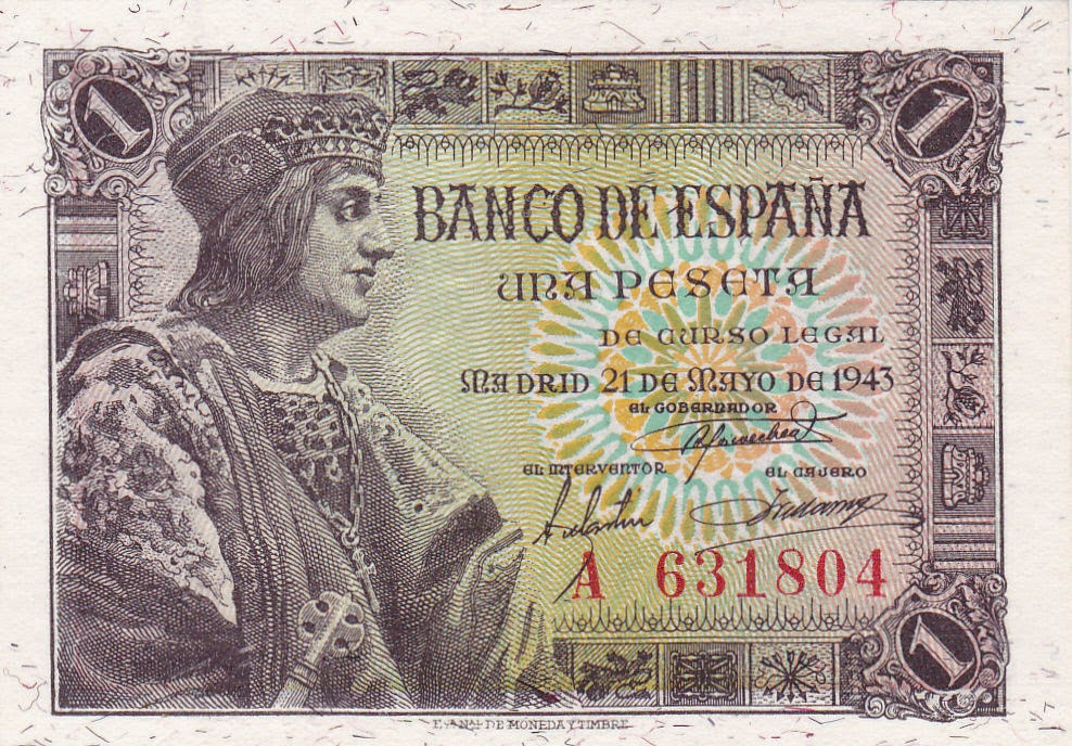 Spain Banknotes 1 Spanish Peseta note 1943 King Ferdinand II of Aragon