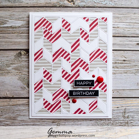 Label Maker Sentiments stamp set and Split Chevron Cover-Up Die-namics - Gemma Campbell #mftstamps
