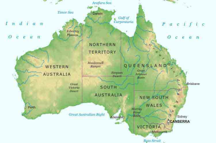 karta over australien Australien Karta över Region Politiska karta over australien