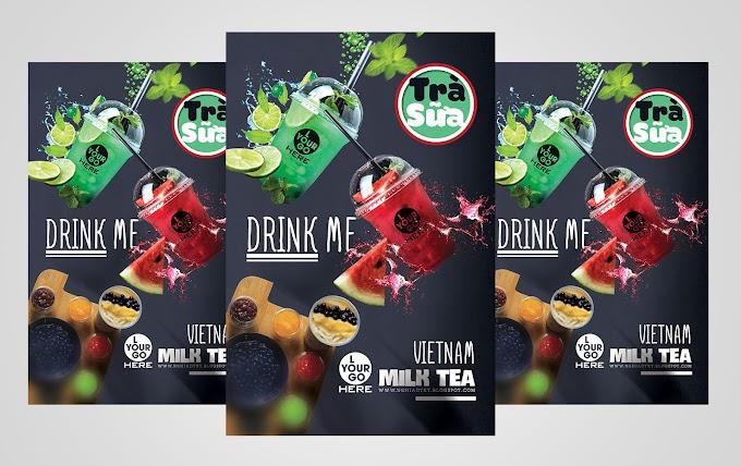 milk tea psd mockup free poster free PSD Template