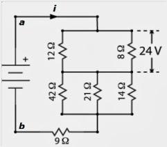 Sabendo que na figura anterior a diferença de potencial sobre o resistor de  8 Ω é de 24 V, as diferenças de potencial, em V, sobre os resistores de 14  Ω, ... 68b5fb54d0