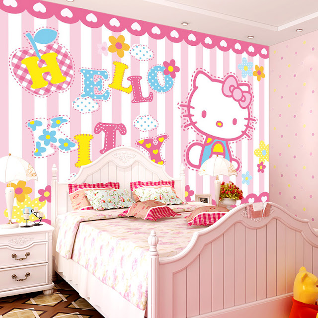 Fototapet barn Hello Kitty rosa tapet tjejrum baby tapet