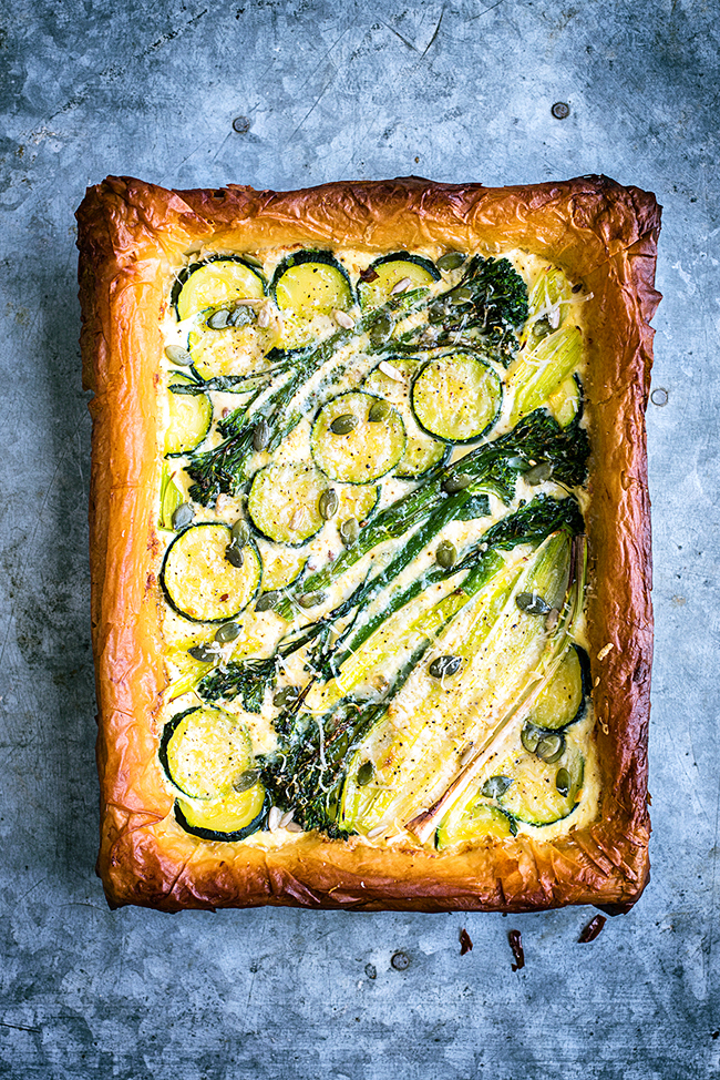 Spring Tart with Ricotta, Leek, Sprouting Broccoli and Courgette ...