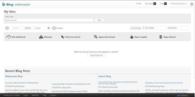 Cara Daftar Blog Di Bing Webmaster