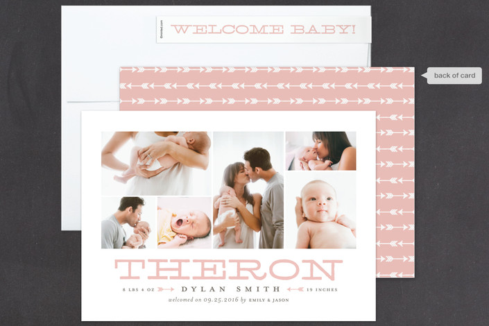 pink birth announcement for minted