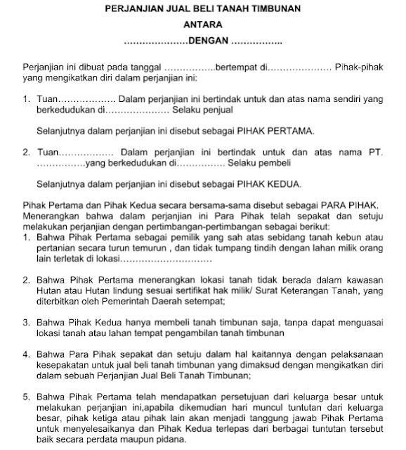 contoh surat perjanjian jual beli tanah timbunan resmi