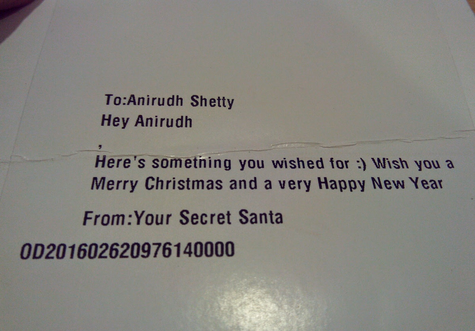 MySanta.in Secret Santa Message