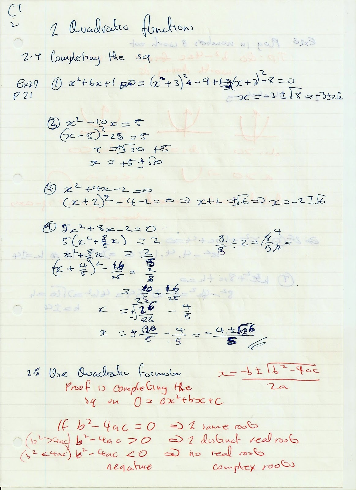 A Level Maths Notes Edexcel C1 2 Quadratic Functions