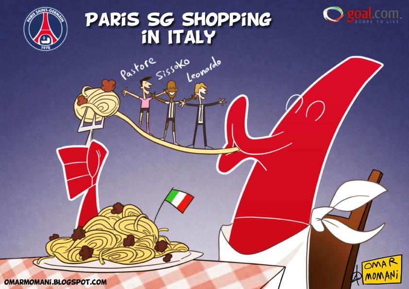 Omar Momani cartoons: Paris Saint-Germain shopping in Italy