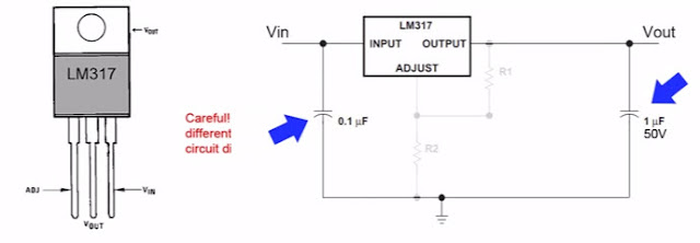 Configuration of the LM317 circuits