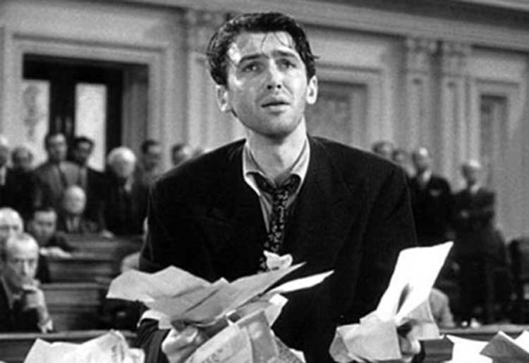 Jimmy Stewart battles corrupt politicians in Mr. Smith Goes to Washington.