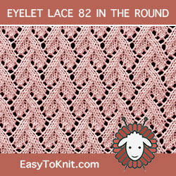 Grapevine Eyelet Lace, easy to knit in the round