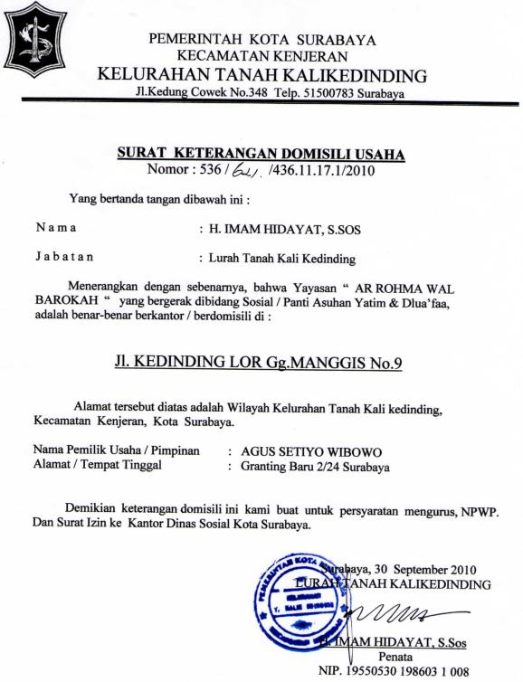 Contoh Surat Domisili Perusahaan Dari Kelurahan Contoh Surat