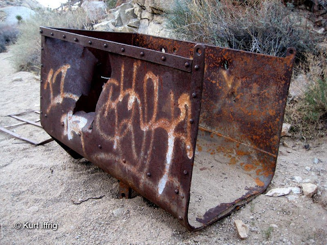 A vandalized ore bin found near the Desert Queen Mine. Thankfully it has not been stolen yet.