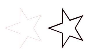 einfache Sternkontur mit nachgezeichnetem Ergebnis