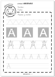 Fichas lectoescritura para imprimir en Infantil y Primaria 5 años gratis abecedario mayúsculas