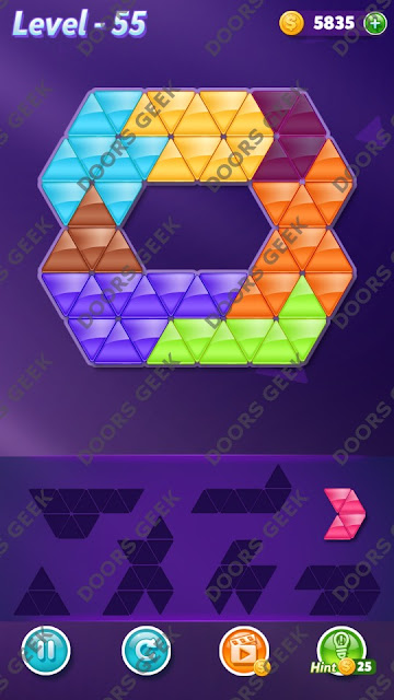 Block! Triangle Puzzle 7 Mania Level 55 Solution, Cheats, Walkthrough for Android, iPhone, iPad and iPod
