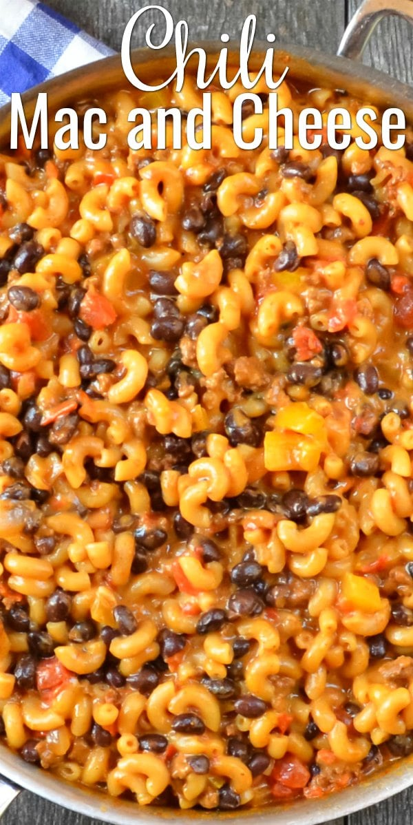 One Pot Chili Mac and Cheese is a family favorite easy 30 minute dinner recipe. So easy and delicious from Serena Bakes Simply From Scratch.