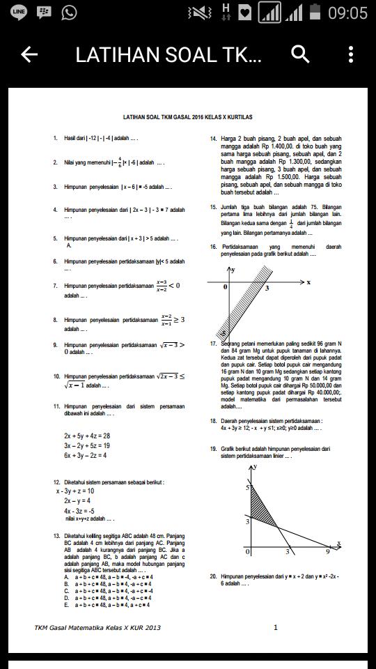Skanisa Math Latihan Soal Uas Matematika Smk Kurtilas Kelas X Gasal 2016