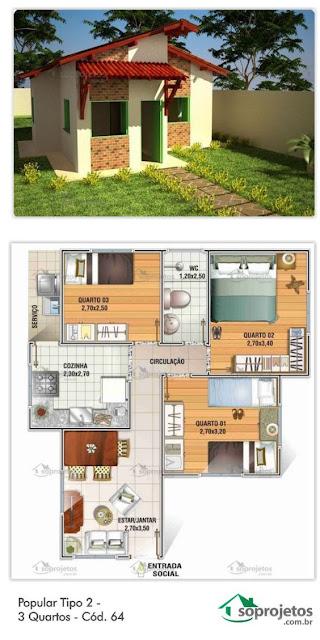 แบบบ้านชั้นเดียวขนาดเล็กสามห้องนอน
