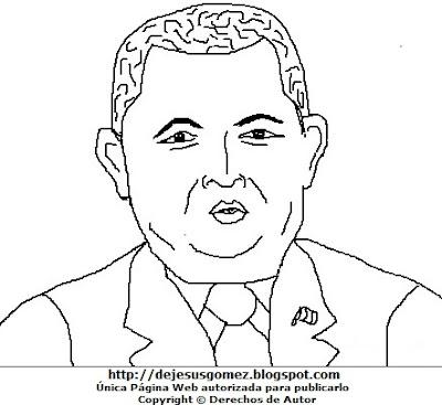Imagen de Hugo Chávez para niños para colorear o pintar. Dibujo de Hugo Chávez de Jesus Gómez