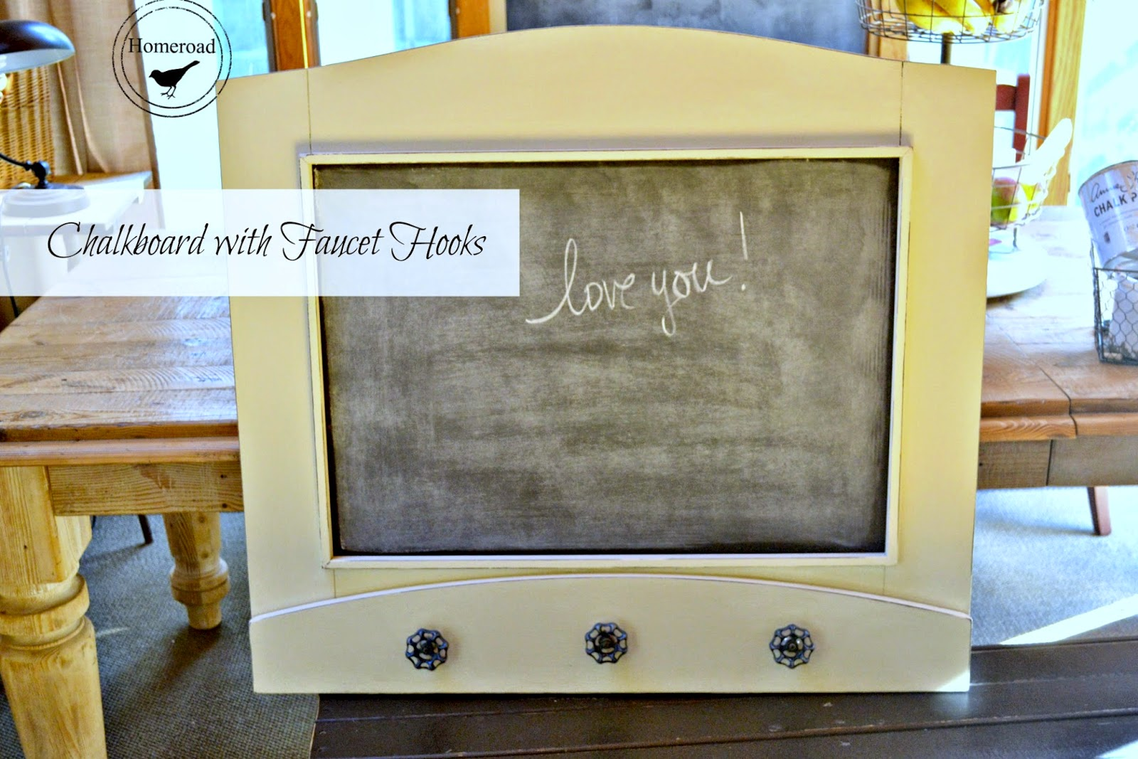chalkboard message center with faucet hooks www.homeroad.net
