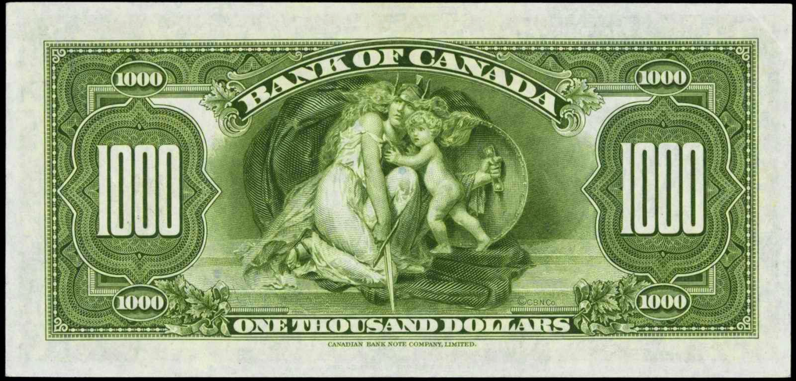 Bank of Canada 1935 One Thousand Dollar note bill