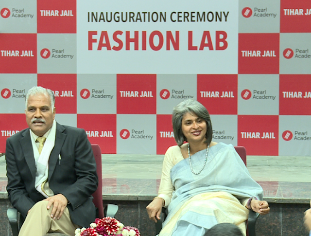 Sudhir Yadav, DG Prisons with Nandita Abraham, CEO Pearl Academy interacting with the media at the inauguration of Fashion Laboratory at Tihar Jail