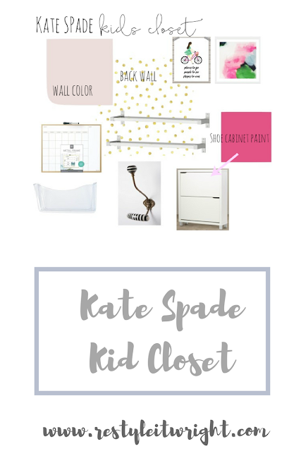 Kate Spade Inspired Closet with removable wallpaper, shoe storage, Anthropology hooks, and sherwin williams breathless