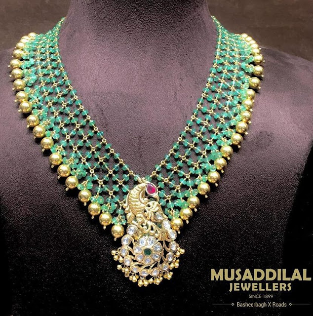 Beads Set Detachable Pendant by Musaddilal Jewellers