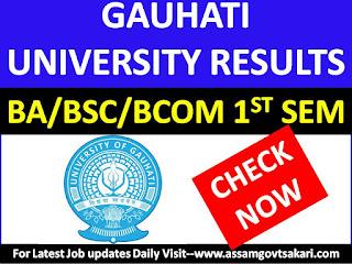 Guwahati University BA/ B.Sc/ B.Com 1st Semester Results 2019