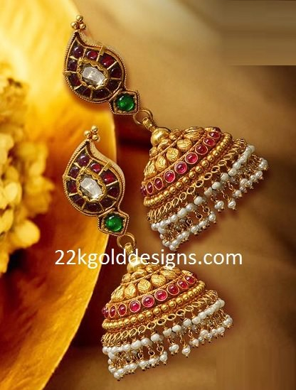 Gold Temple Jewellery Jhumkas
