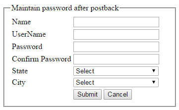 How to keep/retain password value in the asp net TextBox after