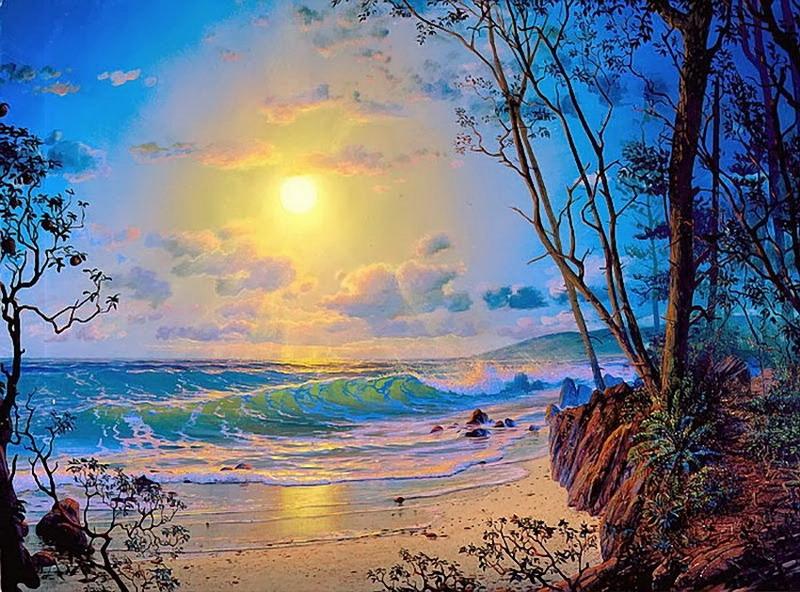 Cuadros Modernos Pinturas Y Dibujos : Atardecer De Playas