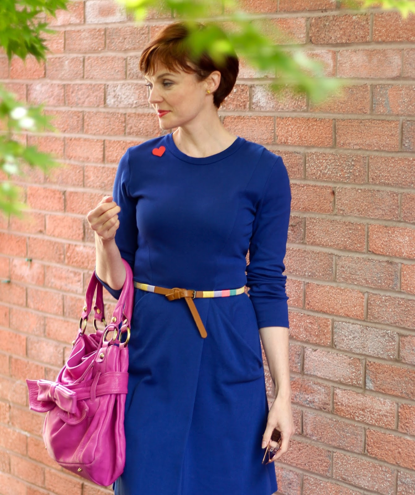 Blue Whistles Dress, Magenta Tote Bag, Tan Brogues | Fake Fabulous