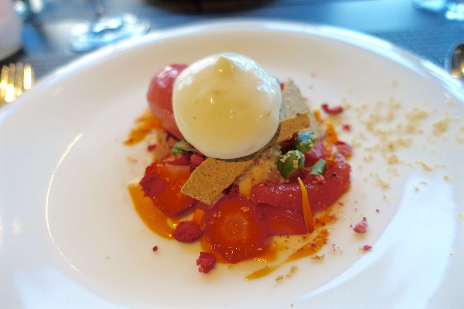 white chocolate mousse with grapefruit curd dessert