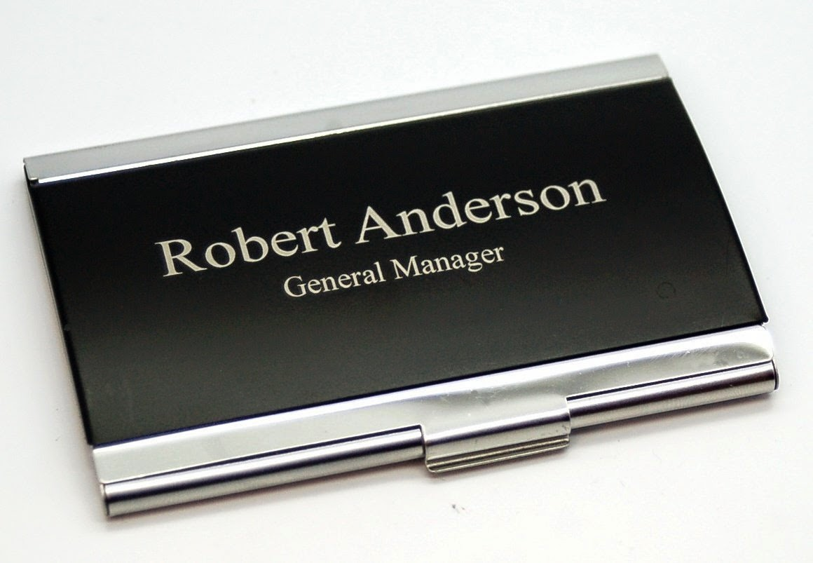 business card holder: engraved business card holder